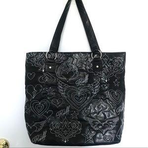 Fluff Black Tote Overnight Bag